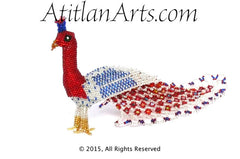 Beaded Peacock #3 Medium Figurine, red, blue & silver [Birds]