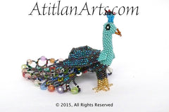 Beaded Peacock #4 Medium Figurine, blues & dark purple, with crystals [Birds]