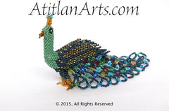 Beaded Peacock #5 Medium Figurine, green, blue & multi tail [Birds]