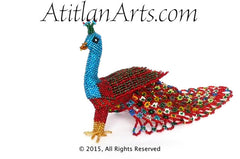 Beaded Peacock #6 Medium Figurine, blue head, red body & tail [Birds]