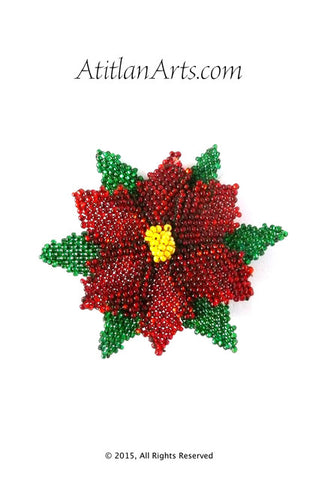 Beaded Red Christmas Poinsettia Brooch BRO-PASCUA-23-04-15