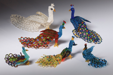 Beaded Peacocks #1-6 All Sizes Figurines, multi-colored [Birds]