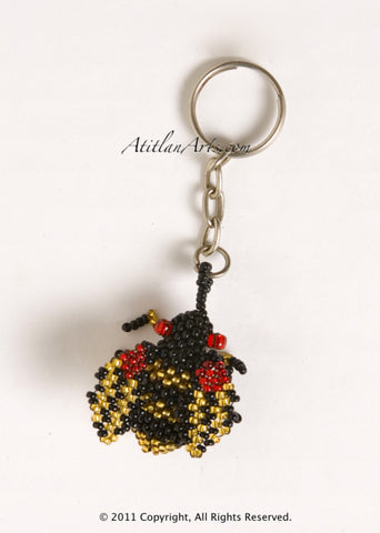 Beaded Bee Keychain, black gold red eye [Insects]