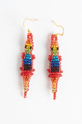 Earring: Alligator; rainbow colors, red sides, silver belly