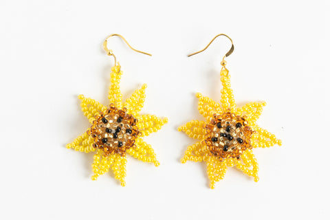 Earrings: Sunflower; luster yellow, gold