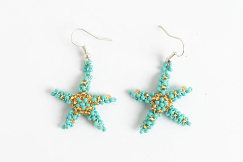 Earrings: Starfish; turquoise, gold