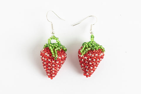 Earrings: Strawberry; red, silver