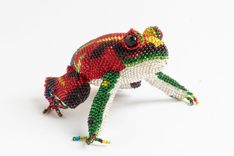 Frog; medium; red with yellow, green, blue. purple stripes