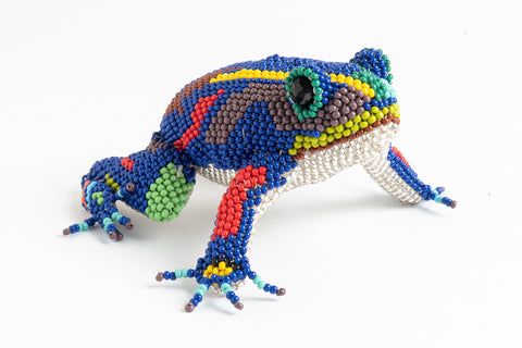 Frog; medium; luster blue with multicolor spots and stripes