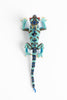 Lizard:medium; turquoise, bronze, blue