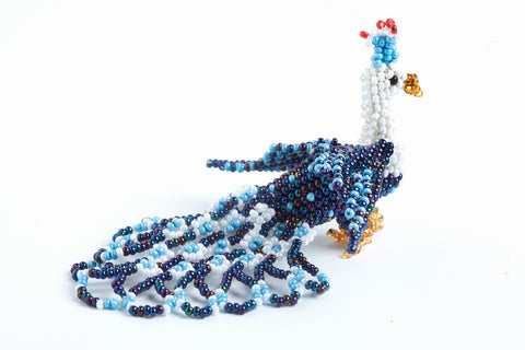 Peacock: small; white, peacock blue, light blue