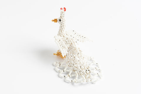 Peacock: small; white and silver