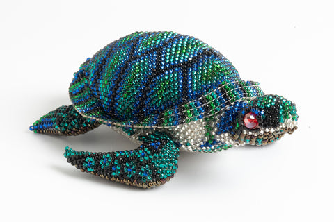 Sea Turtle: medium; emerald green, blue, green, black
