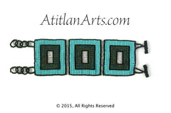 Flat Bracelet Squares Beaded Turquoise & Black wide. BR-F2-3S-05