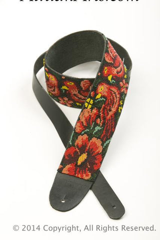 Hand Beaded Leather Guitar Strap - Red Bird & Flowers