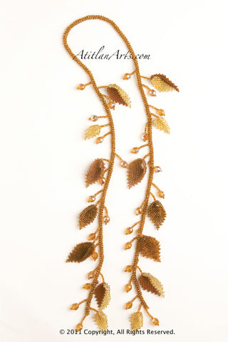 Gold & Brown Leaves Lariat Necklace