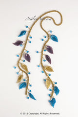 Lariat Necklace, Blue & Gold Leaves