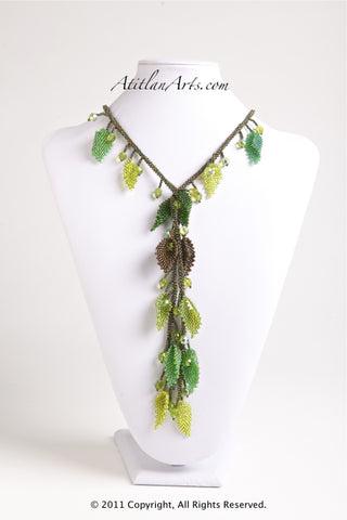 Green & Bronze Leaves Lariat Necklace