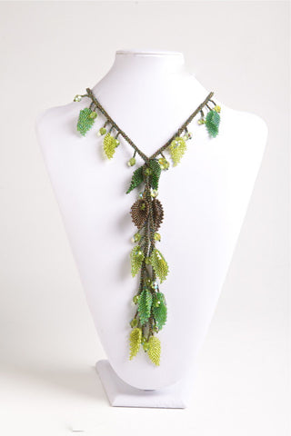 Lariat Necklace, Green Leaves