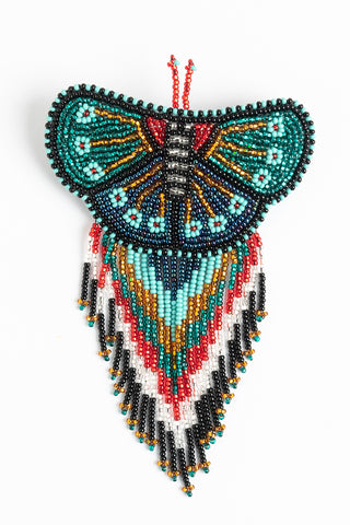 Butterfly with Fringe Hairclip; Large; silver, red, green, gold, turquoise