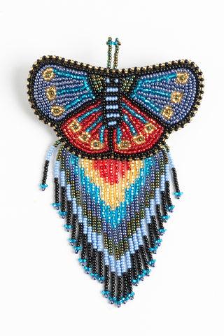 Butterfly with Fringe Hairclip; Large; blues, gold, red, black