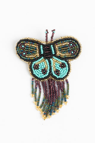 Butterfly with Fringe Hairclip; small; turquoise, bronze