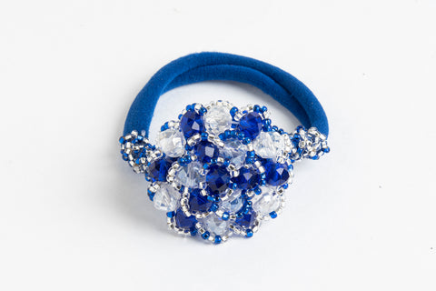Ponytail Holder with Crystal Cluster; blue, silver