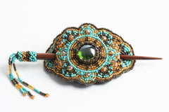 Hair Barrette with Wood Dowel; turquoise, gold, bronze
