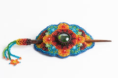 Hair Barrette with Wood Dowel; rainbow colors