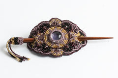 Hair Barrette with Wood Dowel; purple, light purple, gold