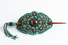 Hair Barrette with Wood Dowel; turquoise, bronze