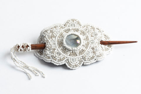 Hair Barrette with Wood Dowel: white, silver