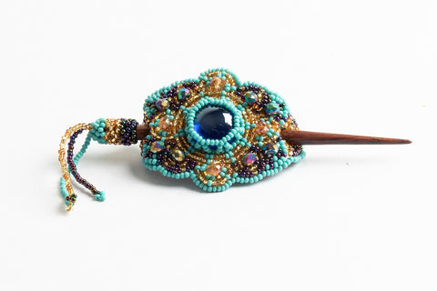 Hair Barette with Wood Dowel; small; turquoise, gold, peacock purple