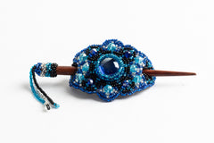 Hair Barette with Wood Dowel; small; bright blue, blue, black