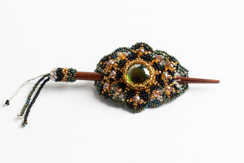 Hair Barrette with Wood Dowel; small; gold, peacock green, black, silver