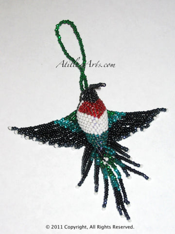 Hummingbird, large fringe tail green red white breast [Birds] ornament
