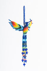 Hummingbird; extra large; rainbow colors; blue head