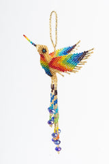 Hummingbird; extra-large; gold, rainbow wings and breast