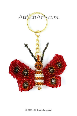 Beaded Bee Keychain, rounded wing red & black [Insects]