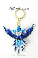 Large Beaded Hummingbird Keychain, Blues & White, Blue Head [Birds]