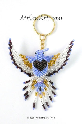 Large Beaded Hummingbird Keychain, Lavender Blue Gold White, Blue Head [Birds]
