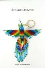 Largest Beaded Hummingbird Keychain, Rainbow with Blue Head [Birds]