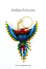 Large Beaded Hummingbird Keychain, Rainbow with Red Head. [Birds]