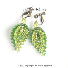 Light & Dark Green Leaves and Crystal Earrings. clip screw post
