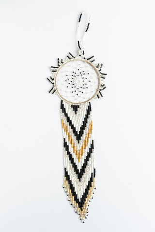 Dreamcatcher: large; gold, white, black, silver
