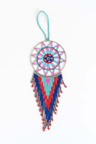 Dreamcatcher: small; pink, light blue, red, blue, brown