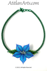 Blue Flower Circle Necklace, NK-23-04-15