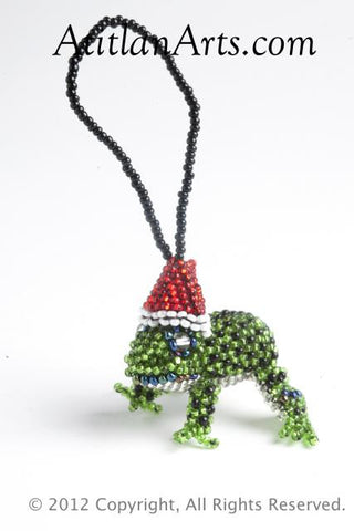 Christmas Frog green with red hat [Christmas Ornament, Holiday, Frogs]