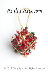 Gift Box large with bead fringe red/gold [Holiday]