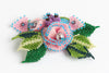 Rose with Buds and Leaves Brooch; pink, blue, green